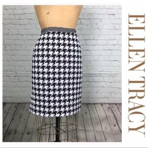Ellen Tracy Houndstooth Pencil Skirt